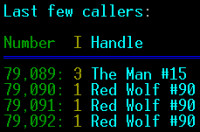 Colossus BBS Last Callers