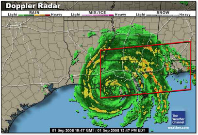Hurricane Gustav - 1 Sept 2008