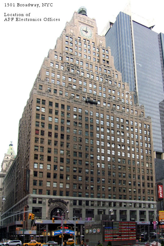 1501 Broadway in Manhattan - Location of APF Electronics Offices