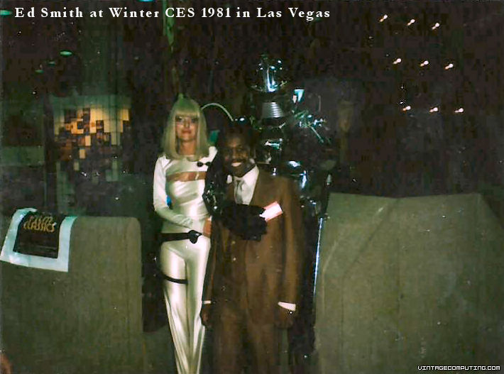 Ed Smith at 1981 Winter CES with a Robot