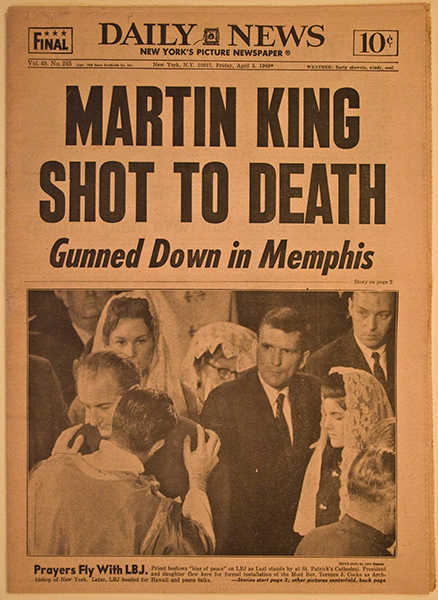 Martin Luther King Shot Newspaper Headline 1968