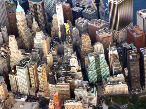Aerial Shot of Wall Street in NYC