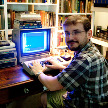 Benj Edwards with a Commodore 64