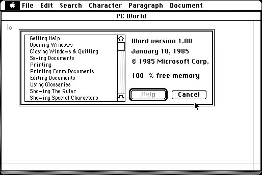 Microsoft Word for Macintosh 1.0