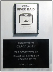 Carol Shaw's Platinum River Raid Cartridge for 100000 units sold, 1983