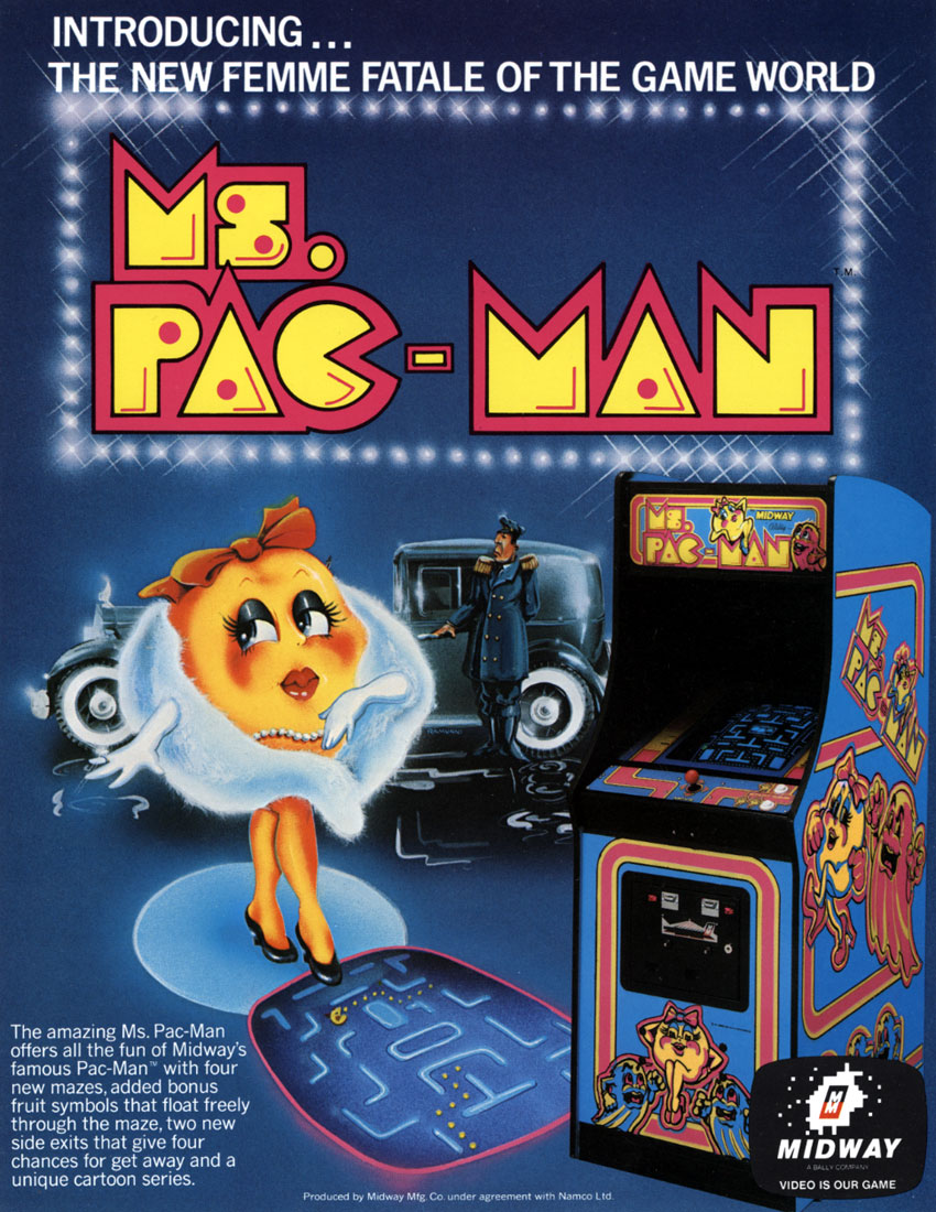 Ms. Pac-Man Arcade Flier Flyer