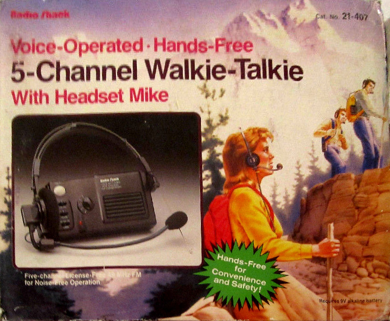 Radio Shack Voice-Operated Hands-Free 5-Channel Walkie-Talkie with Headset Mike