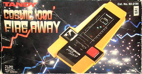 Tandy Cosmic 1000 Fire Away handheld electronic game box art