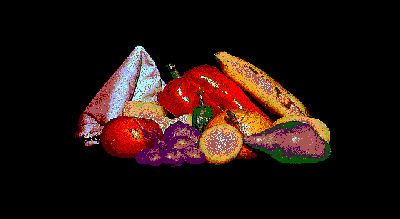 Vintage Fruit and Vegetable Still Life 1988 Retro GIF