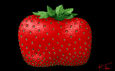Amiga Strawberry Art 1986 Retro GIF