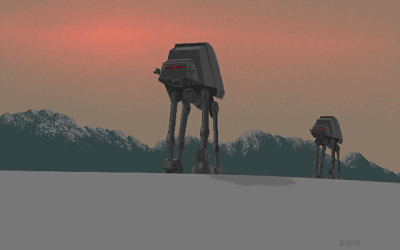 Star Wars AT-AT Empire Strikes Back Retro GIF - circa 1988