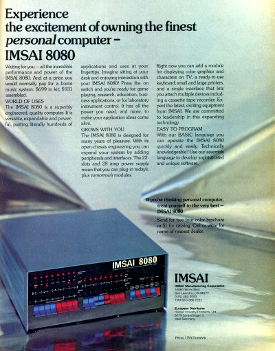 IMSAI 8080 S-100 Computer Advertisement Scan - 1977