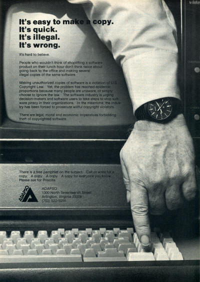 ADAPSO Anti-Piracy Advertisement - 1985