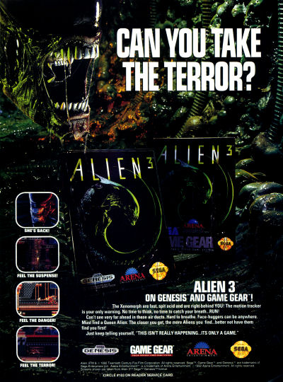Arena Entertainment Alien 3 for Sega Genesis and Game Gear advertisement scan - 1992