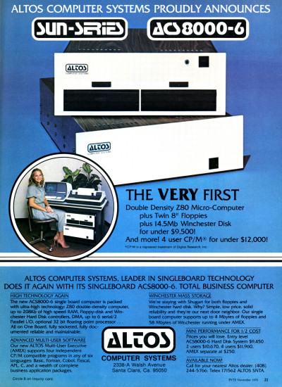 Altos Computer Systems ACS8000-6 and Sun-Series ad - 1979