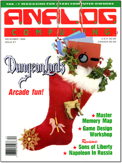 Analog Computing Atari ST Dungeonlords Stocking Christmas Magazine Cover - 1988