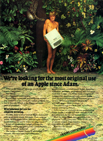 Apple Adam Genesis Forbidden Fruit Apple II Advertisement - 1979