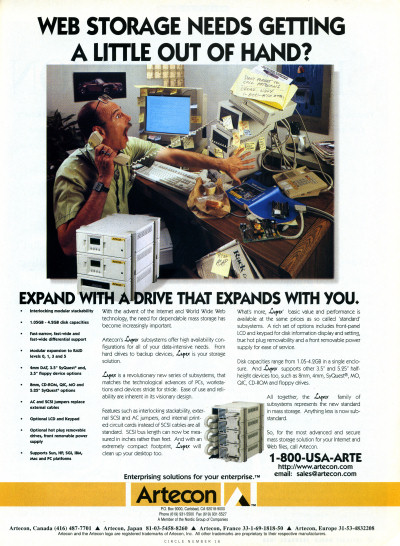 Artecon Lynx Hard Drive Storage advertisement Internet World February 1996