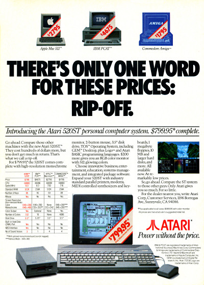 Atari ST Atari 520ST Rip-Off Advertisement 1985