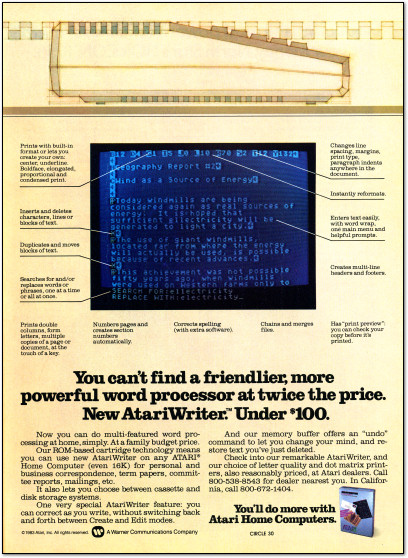 AtariWriter Atari 800 Word Processor Advertisement - 1980