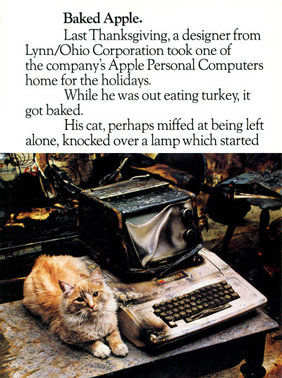 Baked Apple Melted Burned Apple II computer with cat house fire Ad - 1982
