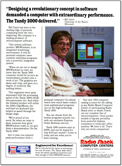 Bill Gates Tandy 2000 Ad