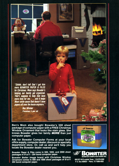 Bowater Computer Forms Inc. Bowater Paper and Files Computer Printer Paper Christmas Ad Advertisement- 1985