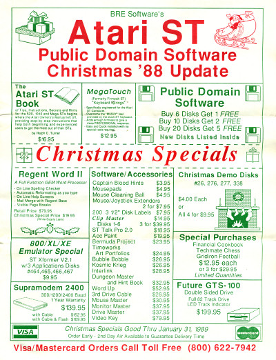 BRE Software's Atari ST Public Domain Software Christmas '88 Update - 1988