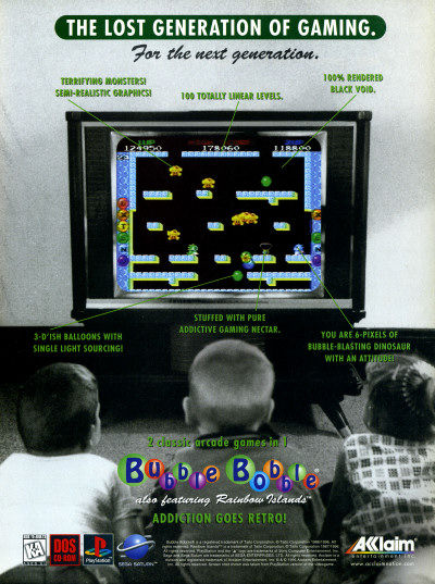 Bubble Bobble Also Featuring Rainbow Islands PlayStation PS1 PSX MS-DOS advertisement - 1996