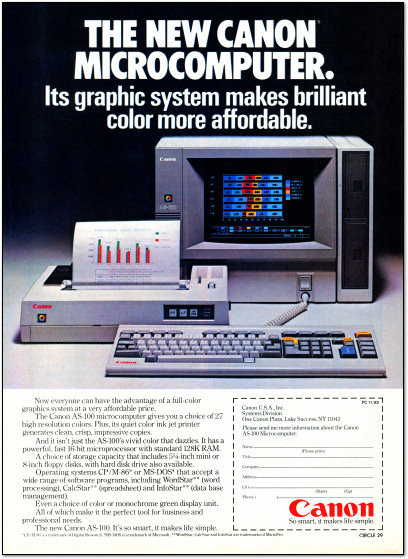 Canon AS-100 Microcomputer Ad - 1983