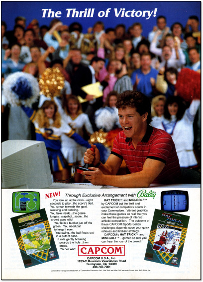 Capcom Hat Trick and Mini Golf for Commodore 64 Ad - 1988