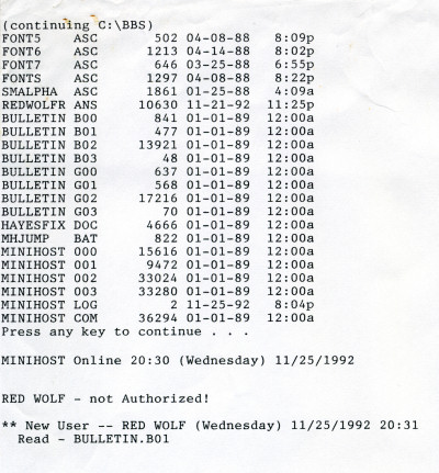 The Cave BBS first log file - RedWolf PC Plus Minihost - 1992