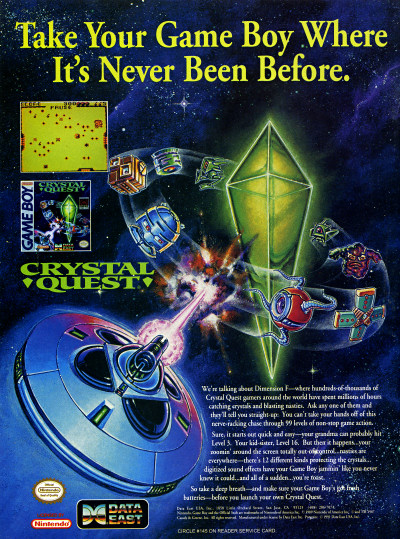 Crystal Quest for Nintendo Game Boy Advertisement 1991