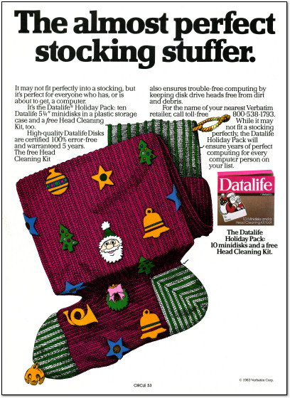 Datalife 5.25 Floppy Disk box Christmas Ad - 1983