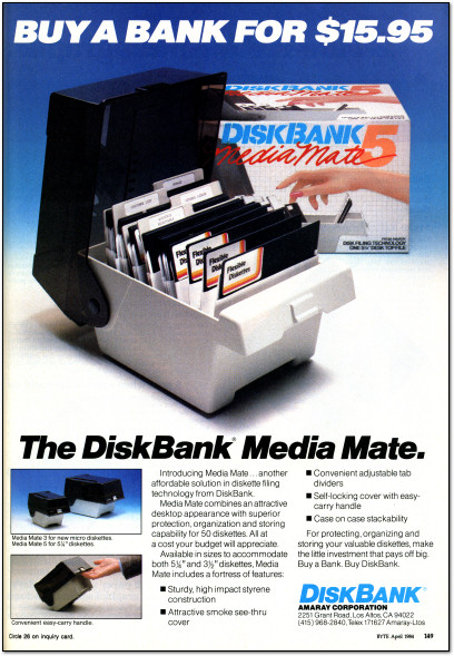 Amaray DiskBank Media Mate Disk Box Ad - 1984