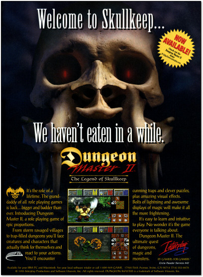 Dungeon Master II Skullkeep PC and Macintosh Advertisement Ad - 1995