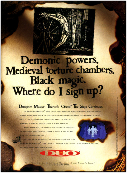 Dungeon Master: Theron's Quest for the TTI Turbo Duo Ad - 1993