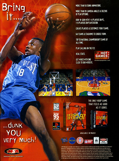 MCA Mindscape NCAA Basketball Final Four '97 1997 Ad advertisement - 1997