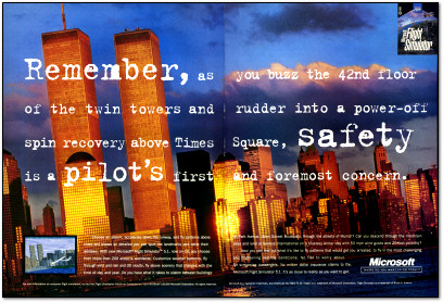 Creepy September 11th Microsoft Flight Simulator 5.1 Advertisement in ComputerLife - 1995