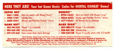 Game Genie Code Update Pull-off flier flyer - circa 1993