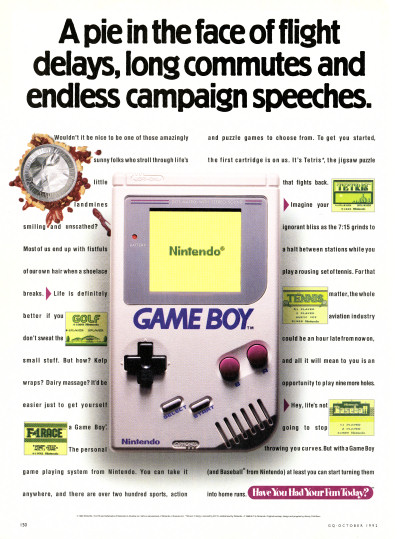 Nintendo Game Boy Political Campaign Speeches GQ 1992 Presidential Election advertisement scan - 1992