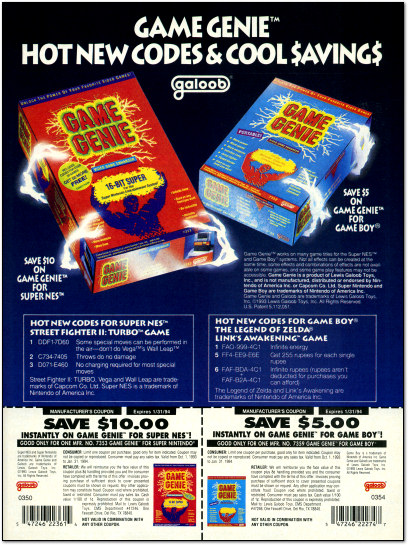 Game Genie SNES Game Boy Ad - 1993