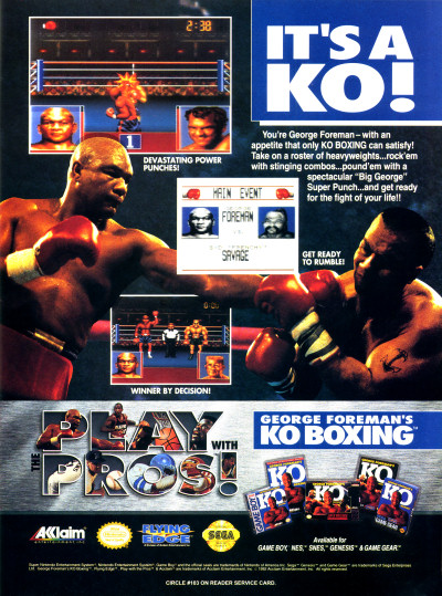 George Foreman's KO Boxing SNES Genesis Game Boy NES Game Gear advertisement - 1992