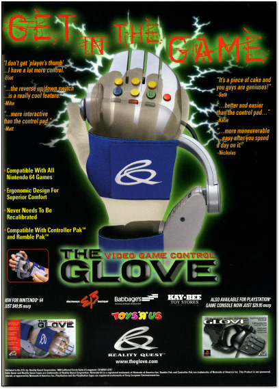 Video Game Glove Controller Ad - 1998