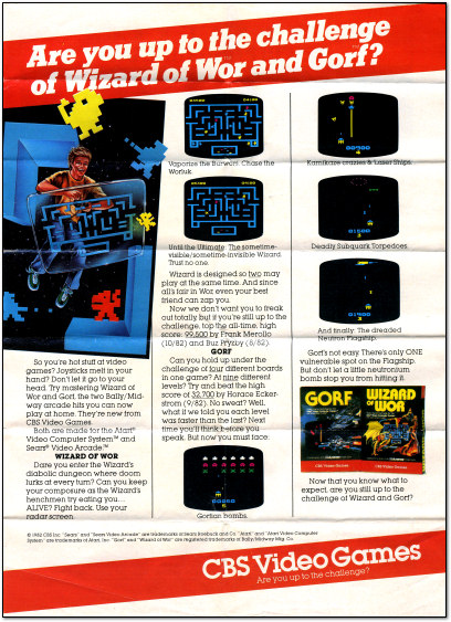 Wizard of Wor and Gorf Ad - 1980s