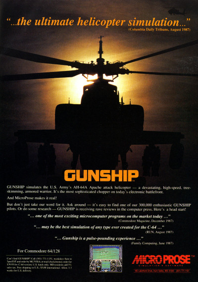 MicroProse Gunship Commodore 64 advertisement  - Compute's Gazette - 1988