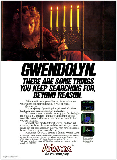 Artworx Gwendolyn Atari 800, Apple II Ad - 1983