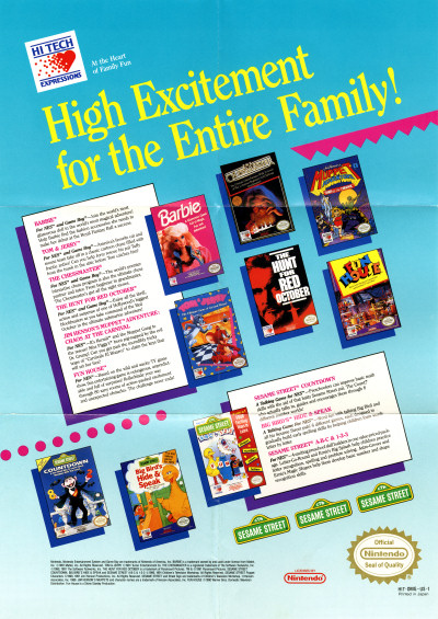 Hi Tech Expressions NES Games Flier scan - 1991