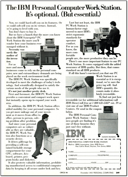IBM Synergetix Personal Computer PC Work Station Ad -  1983
