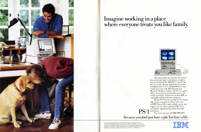 IBM PS/1 IBM PC Dog Family Smithsonian Advertisement Scan - 1991